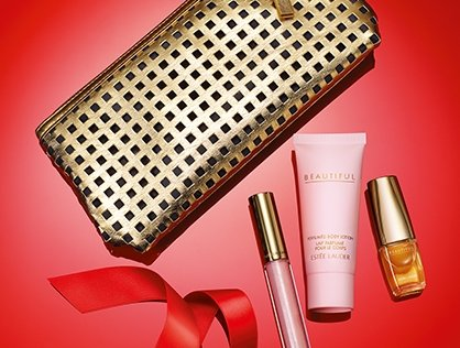 Estee Lauder 4-Piece Beautiful Perfume, Body Lotion, Lip Gloss & Bag Gold Holiday 2013 Collection by Estee Lauder