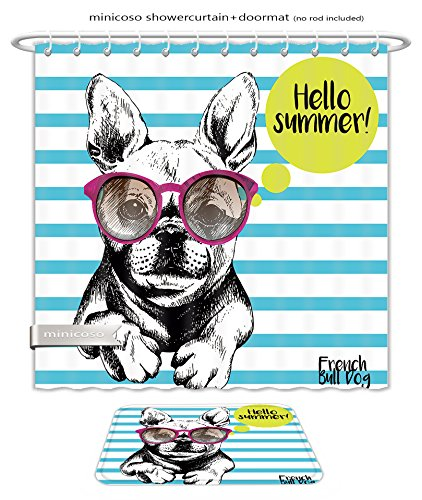 Minicoso Bath Two Piece Suit: Shower Curtains and Bath Rugs Close Up Portrait Of French Bulldog Wearing The Sunglasses Bright Hello Summer French Bulldog Shower Curtain and Doormat - Diamond Sunglasses Versace