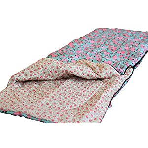 Finelady [Bed of Roses] Girls Sleeping Bag - Youth Sleeping Bag - Best for Moms and Daughters, Girls, Teens, Teenagers - Sleeping Bags That Zip Together - Machine Washable - Light Blue