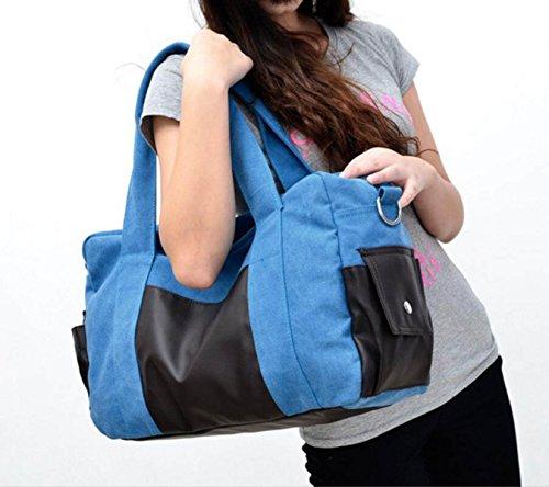 Moda Bolsa De Lona Viajes Ocasionales Hombres Hombro Portátil Bolsa De Mensajero De La Marea,Gray blue