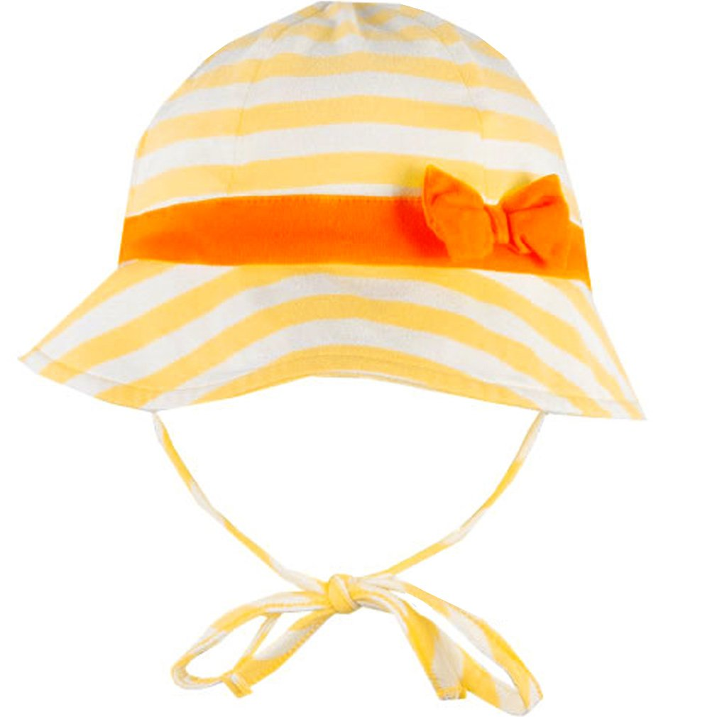 Baby Girl 3-9m le top Quack Girl Sunny Yellow Striped Sunhat w//Ties