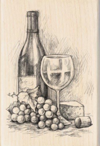 - Inkadinkado Mounted Rubber Stamp, 4 by 2.75-Inch, Wine and Cheese, 4 x 2.75