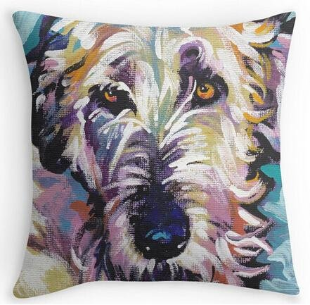 Pillowcases Plain (Space No. 1 Irish Wolfhound Bright colorful pop dog art 18