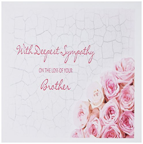 3dRose With Deepest Sympathy on the Loss of your Brother - Pink Roses - Greeting Cards, 6 x 6 inches, set of 6 ()
