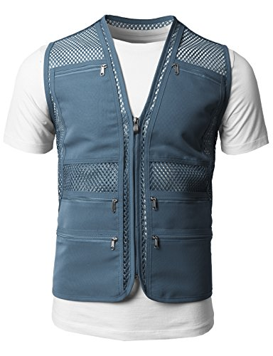 H2H Mens Casual Work Utility Hunting Travels Sports Mesh Vest with Pockets