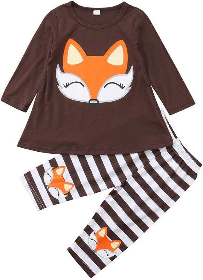 Wang-RX Kids Baby Girl Fox Camiseta de Manga Larga Top + Leggings ...