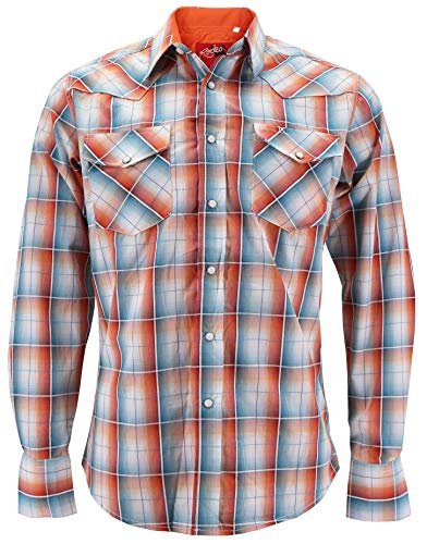 (Rodeo Clothing Men's Western Cowboy Pearl Snap Long Sleeve Plaid Shirt (PS400L #408,)
