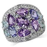 Natural Amethyst, Tanzanite & Blue Topaz White Gold Plated 925 Sterling Silver Cluster Cocktail Ring