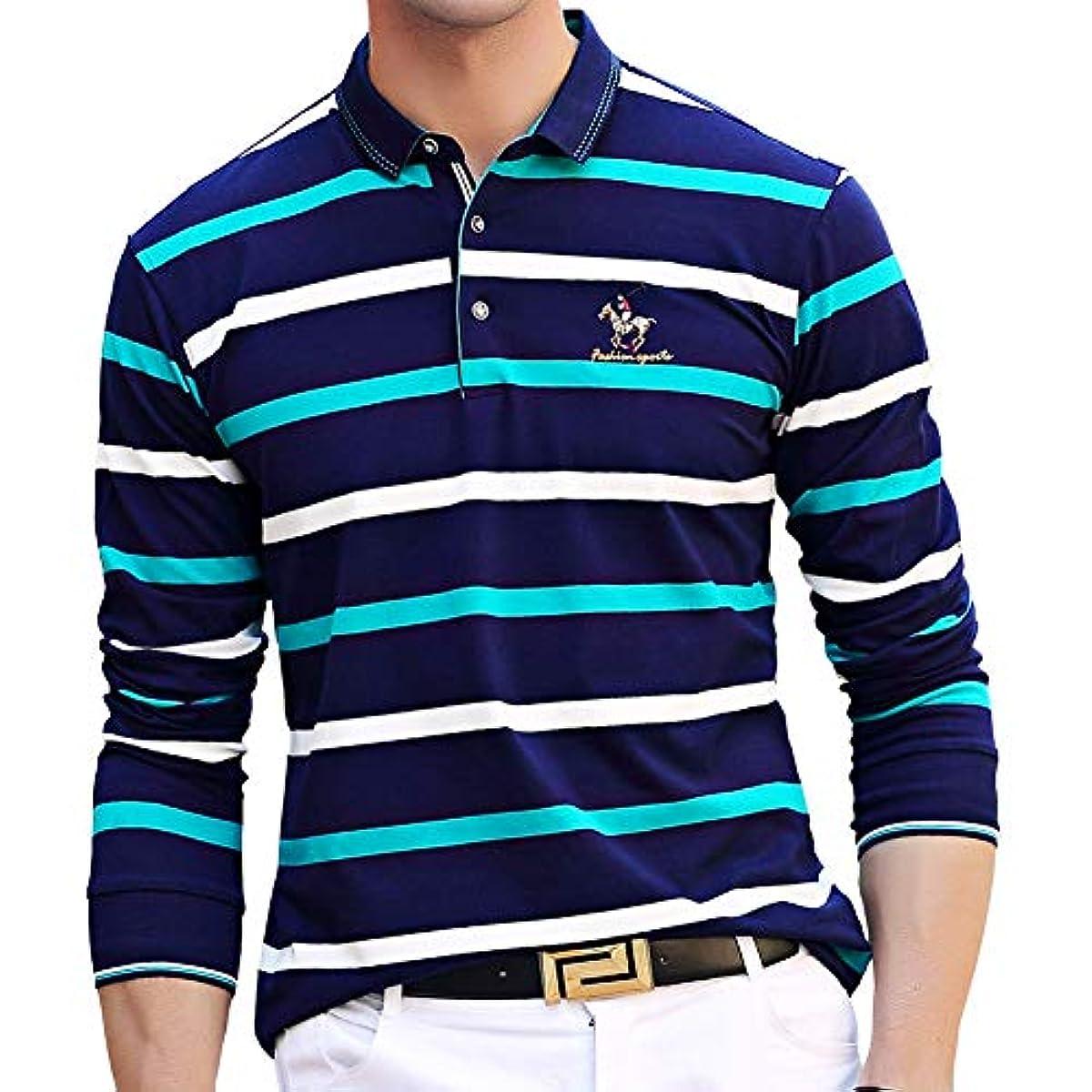 [해외] 폴로 셔츠 긴 소매 맨즈 골프 웨어 보더 스포츠 폴로 셔츠 면 비지니스 골프 셔츠 남성 스트라이프 자수 추동춘