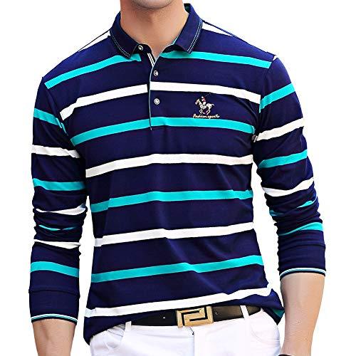 ポロシャツ 長袖 メンズ ゴルフウェア スポーツポロシャツ 男性 ゴルフポロシャツ ストライプ ストレッチ 二重衿 刺繍 軽量 秋 冬 春