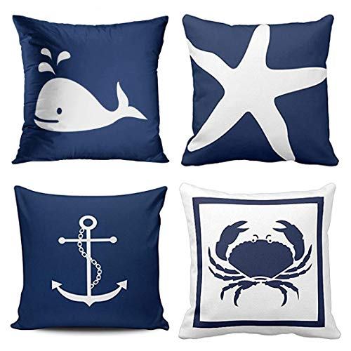 Emvency Set of 4 Throw Pillow Covers Nautical Navy Blue and White Whale Anchor One Side Teal Decorative Pillow Cases Home Decor Square 20x20 Inches Pillowcases (Pillows Throw Navy Nautical)