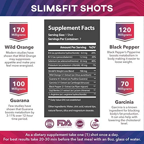 Slim&Fit Shots - The Only Working Weight Loss Pills for Women - Appetite Suppressant, Fat Burner and Metabolism Booster with L-Arginine, Garcinia Cambogia and Guarana - 9 Weeks Supply 5