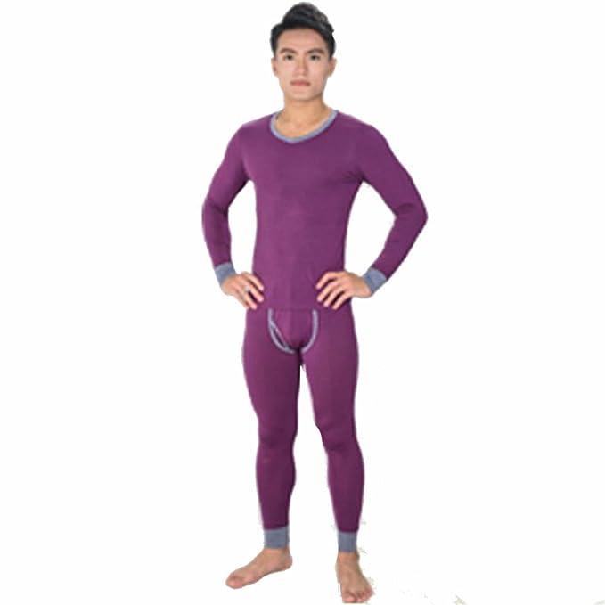 YALL Los Hombres Ropa Interior Térmica Caliente Base Set Set Pijama Manga Larga,Purple,