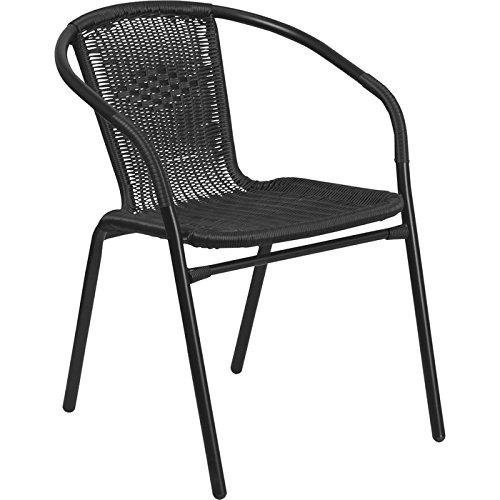Flash Furniture Black Rattan Indoor-Outdoor Restaurant Stack Chair (Black Bistro Chairs)