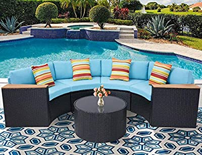 Oakmont Outdoor Sectional Sofa 5-Piece Half-Moon Patio Furniture Set | All-Weather Garden Sofa W/Round Tempered Glass Top Table, Sky Blue Cushions and Colorful Pillows