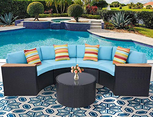 Oakmont Outdoor Sectional Sofa 5-Piece Half-Moon Patio Furniture Set | All-Weather Garden Sofa W/Round Tempered Glass Top Table, Sky Blue Cushions and Colorful Pillows (Seating Curved Patio)