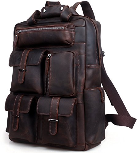 Iswee Vintage Leather Backpack Multi Pockets 17' Laptop Case Daypack Travel Sports Bag For Men (Dark Brown)