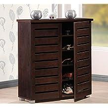 Baxton Studio Wholesale Interiors Adalwin Modern and Contemporary 2-Door Dark Brown Wooden Entryway Shoes Storage Cabinet