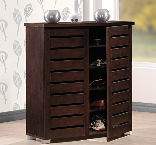 2 Door Contemporary Cabinet (Wholesale Interiors Baxton Studio Adalwin Modern and Contemporary 2-Door Dark Brown Wooden Entryway Shoes Storage)