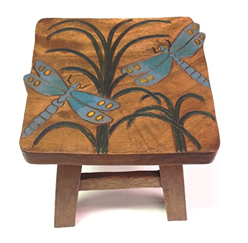 Dragonfly Design Hand Carved Acacia Hardwood Decorative Short Stool by Sea Island (Image #1)