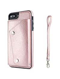 IPhone 8 Plus Phone Case Wallet Cover with Card Holder Hand Straps, Rose Gold