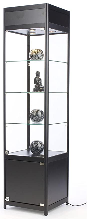 72u201d Tall Glass Display Cabinet With 3 Adjustable Tempered Glass Shelves And  3 Halogen Top
