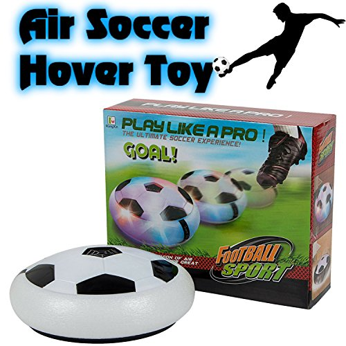 BETTERLINE Air Power Soccer Football Hover Disc Toy with Foam Bumpers and Light-Up LED Lights, Kids Sports Ball Game for Indoor & Outdoor Play, Gift for -