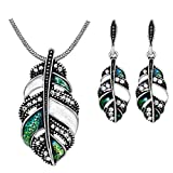 Pizazz Studios Feather Necklace and Earrings Jewelry Set