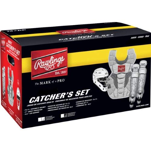 Rawlings Velo 2.0 Youth NOCSAE Baseball Protective Catcher's Gear Set, White and Silver