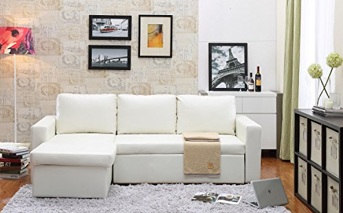 Bicast Leather 2 Piece - Georgetown Bi-Cast Leather 2-Pieces Sectional Sofa Bed with Storage in White