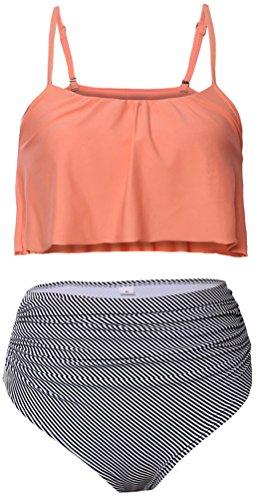 PEGGYNCO Women's Glowing Top and Striped Bottom High Waist Swimwear (Ruffle Trimmed Suspender)