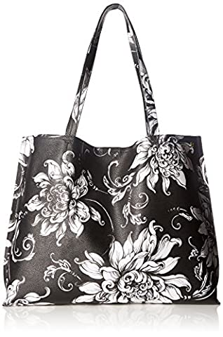 Elliott Lucca Artisan Jules Rev Tote, Black/White Wildflower - Elliott Lucca Leather Shoulder Bag
