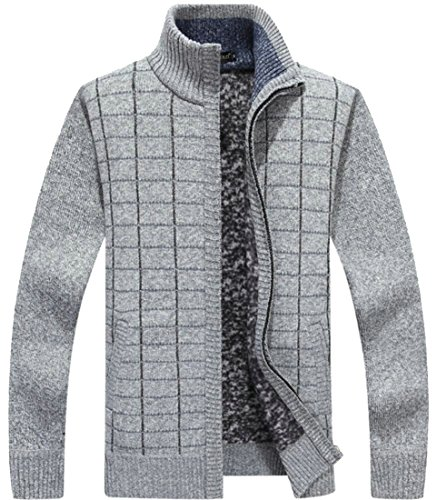 Knit amp;W Slim amp;S Zip With Sweaters Cardigan Pockets 1 Thick Men's M Full Hqg0g