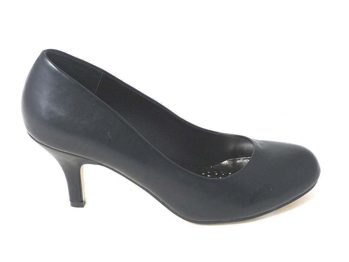 Womens Ladies Kitten Stiletto Heel Mary Jane Office Formal Work Dolly Strap Slip ON Court Shoes Size
