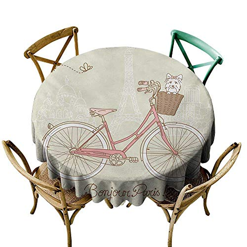 Wendell Joshua Polyester Round Tablecloth 54 inch Dog,Romantic Postcard from Paris Pattern Dog in Basket of The Bicycle Illustration,Egg Shell and Coral Polyester Fabric Table Cloth