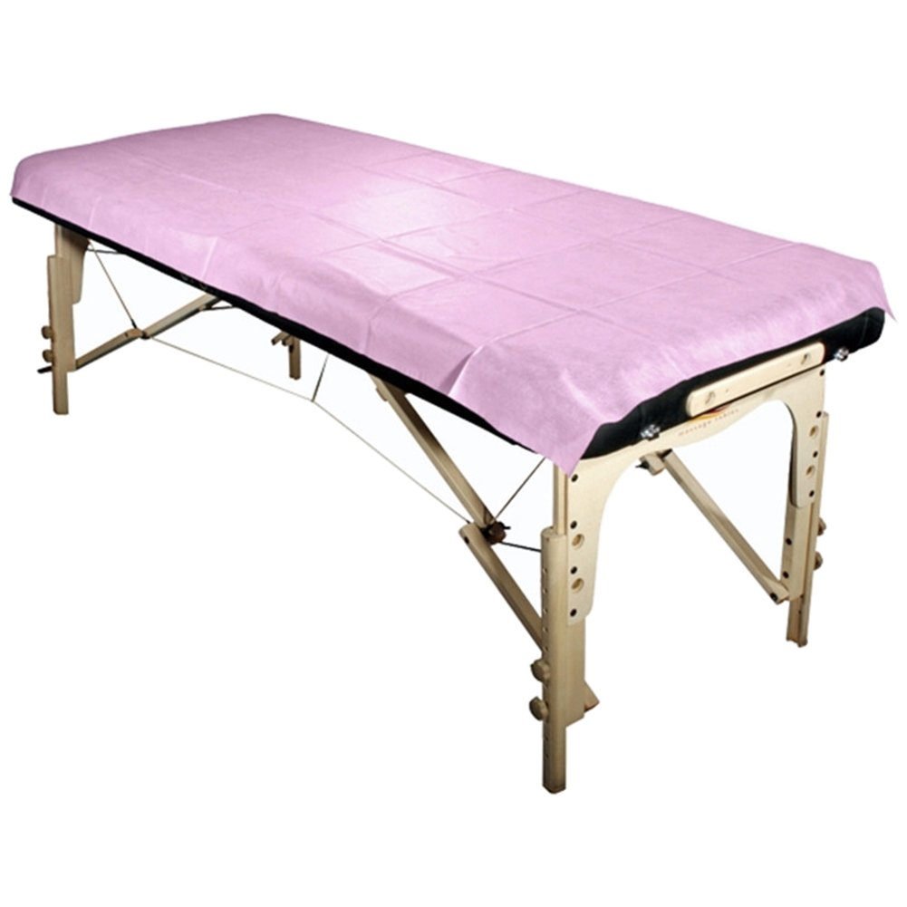 HuangHM 10Pcs Flat Disposable Bed Sheet for Tattoo Artist Massage Facial Waxing and Body Treatments Spa Travelling Hotel Beauty Parlor Soft Water Resistant Non-woven Material Table Cover (Pink)