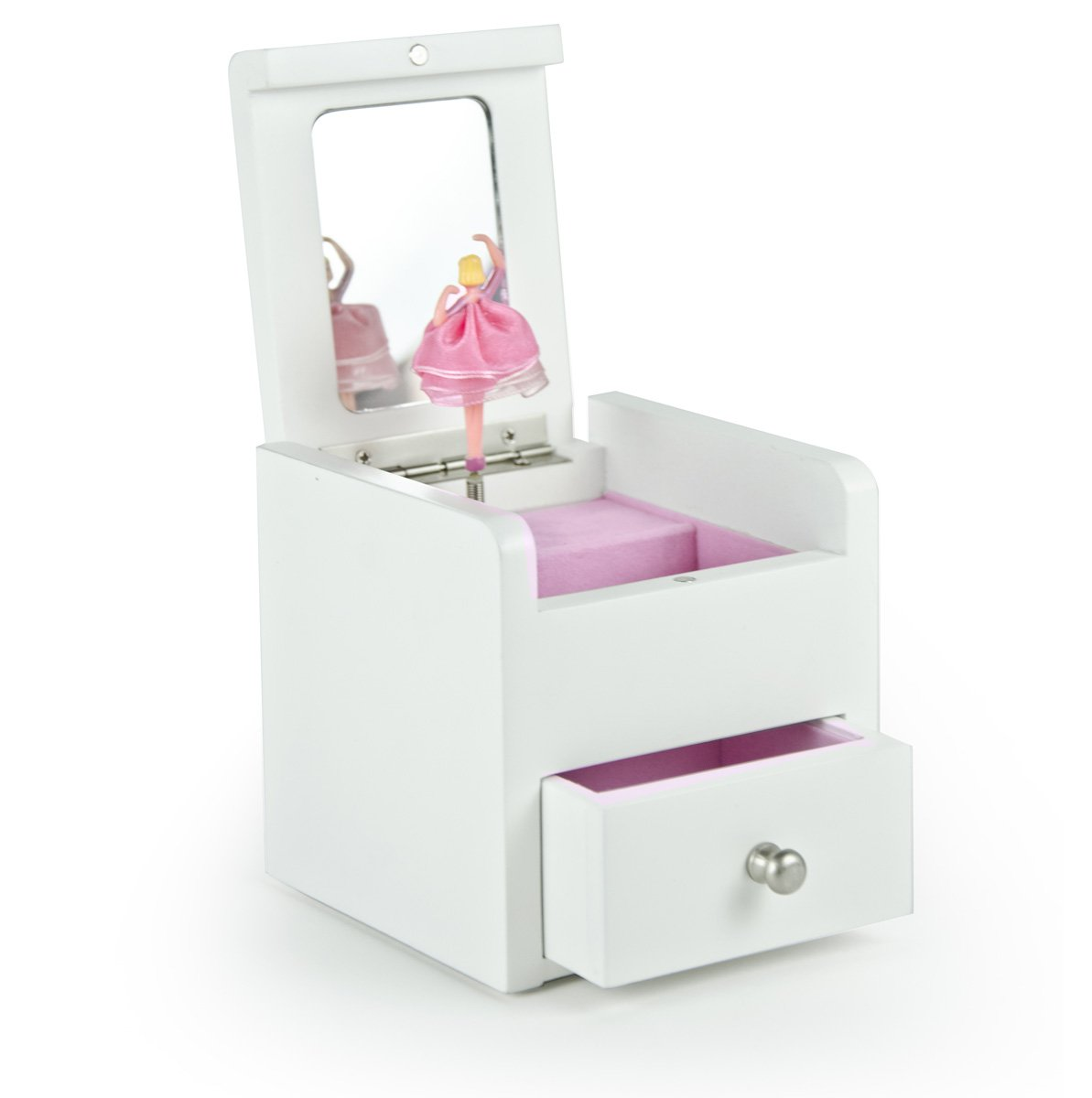 Matte White 18 Note Ballerina Musical Jewelry Box With Pull Out Drawer - Customizable - Fountain of Love - SWISS (+$45) by MusicBoxAttic (Image #2)