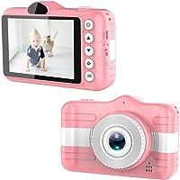 Câmera digital para crianças, câmera de vídeo digital 1080P com a tela IPS de 3,5 polegadas recarregável (Rosa, 117mm X…