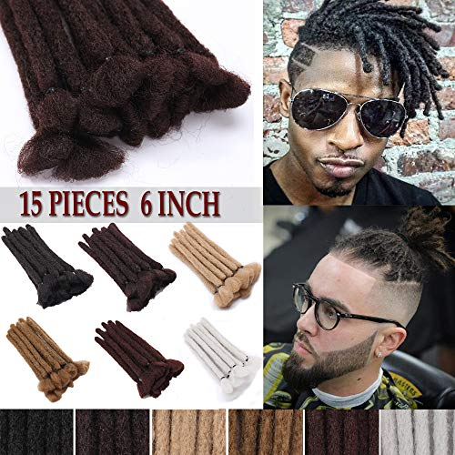 6 Inch Short Handmade Dreadlocks Extensions Soft Synthetic Braiding Hairpieces for Men and Women Faux Locs Crochet Dreads 15pcs/pack Folded Hair Reggae Hip-Pop Natural Blonde