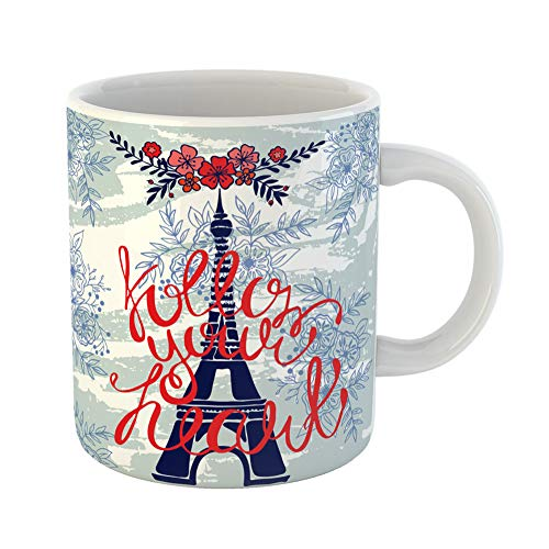 Wishes Bouquet Festive - Emvency Coffee Tea Mug Gift 11 Ounces Funny Ceramic Birthday Eiffel Tower Paris Follow Your Heart Lettering Bouquet Gifts For Family Friends Coworkers Boss Mug