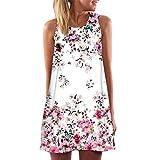 Mimfor Vintage Boho Women Summer Sleeveless Beach Printed Short Mini Dress
