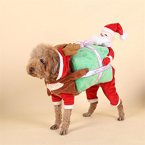 NACOCO Dog Costume Carrying Gift Box with Santa Claus Pet Cat Costumes Funny Christmas Party Festival Holiday Outfit (M) (Funny Dog Outfits)