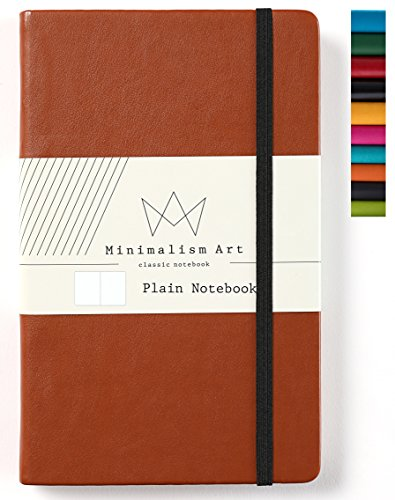 Minimalism Art | Classic Notebook Journal, Size: 5 X 8.3, A5, Brown, Plain/Blank Page, 192 Pages, Hard Cover/Fine PU Leather, Inner Pocket, Quality Paper - 100gsm | Designed in San Francisco