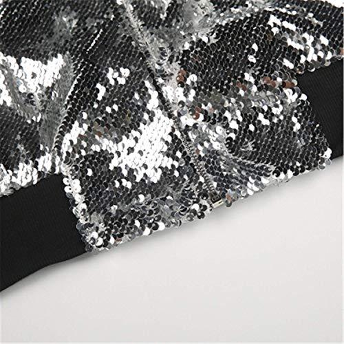 A Moda Casuali Elegante Outerwear Cappotto Donna Manica Cerniera Fashion Giacca Lunga Chiusura Bomber Ragazza Giacche Autunno Hipster Silber Primaverile Brillantini Paillettes Con CYwqUcBgx0
