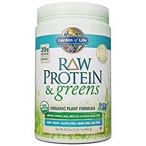 Garden of Life Greens and Protein Powder - Organic Raw Protein and Greens with Probiotics/Enzymes, Vegan, Gluten-Free, Light Sweet, 23.2oz (651g) Powder