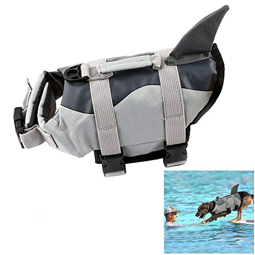 Boknight Dog Life Jackets, Pet Life Vest, Dog Floatation Life Preserver Coat Safety Swimwear with Adjustable Belt for Your Dog (XL, Grey Shark) For Sale