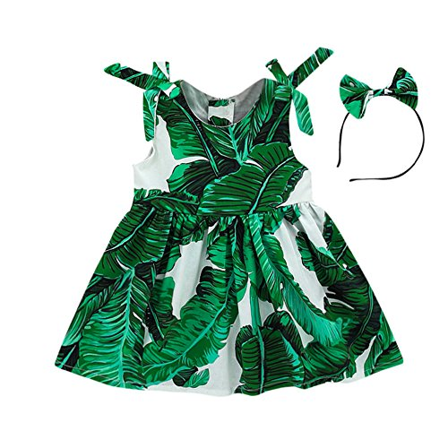 Toddler Baby Girls Leaves Printed Dress Shoulder-Straps Bowknot Beach Mini Sundress with Headband Green