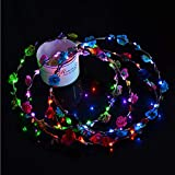Flower Floral Design LED Glow Hairbands LED Light up Flashing Headband Glow in The Dark LED Costume Headband LED Blinking Hair Band for Wedding, Event Favors, Birthday, Concert Party, Halloween (1#)