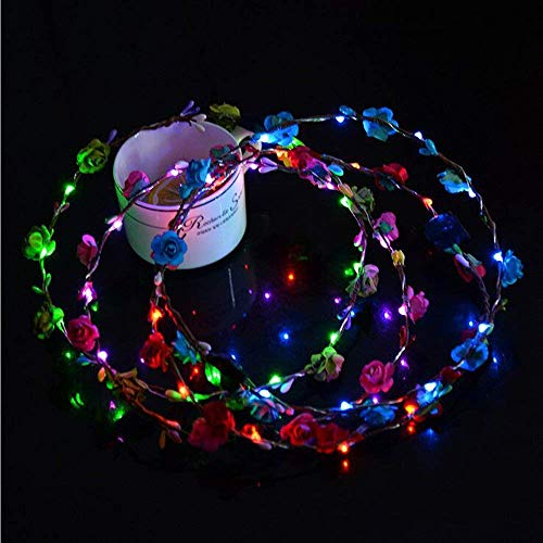 Flower Floral Design LED Glow Hairbands LED Light up Flashing Headband Glow in The Dark LED Costume Headband LED Blinking Hair Band for Wedding, Event Favors, Birthday, Concert Party, Halloween (1#) by WElinks