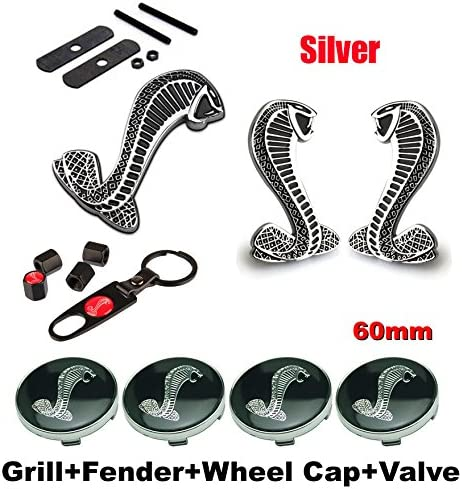Back Car Emblem Badge Sticker BENZEE 11pcs Set AM120 Cobra Front Grille Silver Tire Valve Caps for Ford Mustang Shelby Cobra Wheel Hub Caps